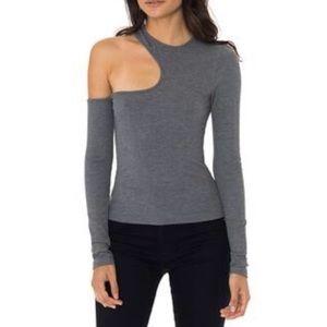 LF Emma & Sam gray cutout one shoulder top